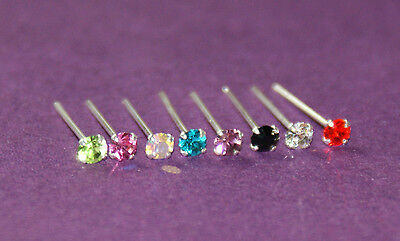 STUNNING 2 MM FLAT CRYSTAL SILVER STRAIGHT PIN NOSE STUD YOU BEND YOURSELF