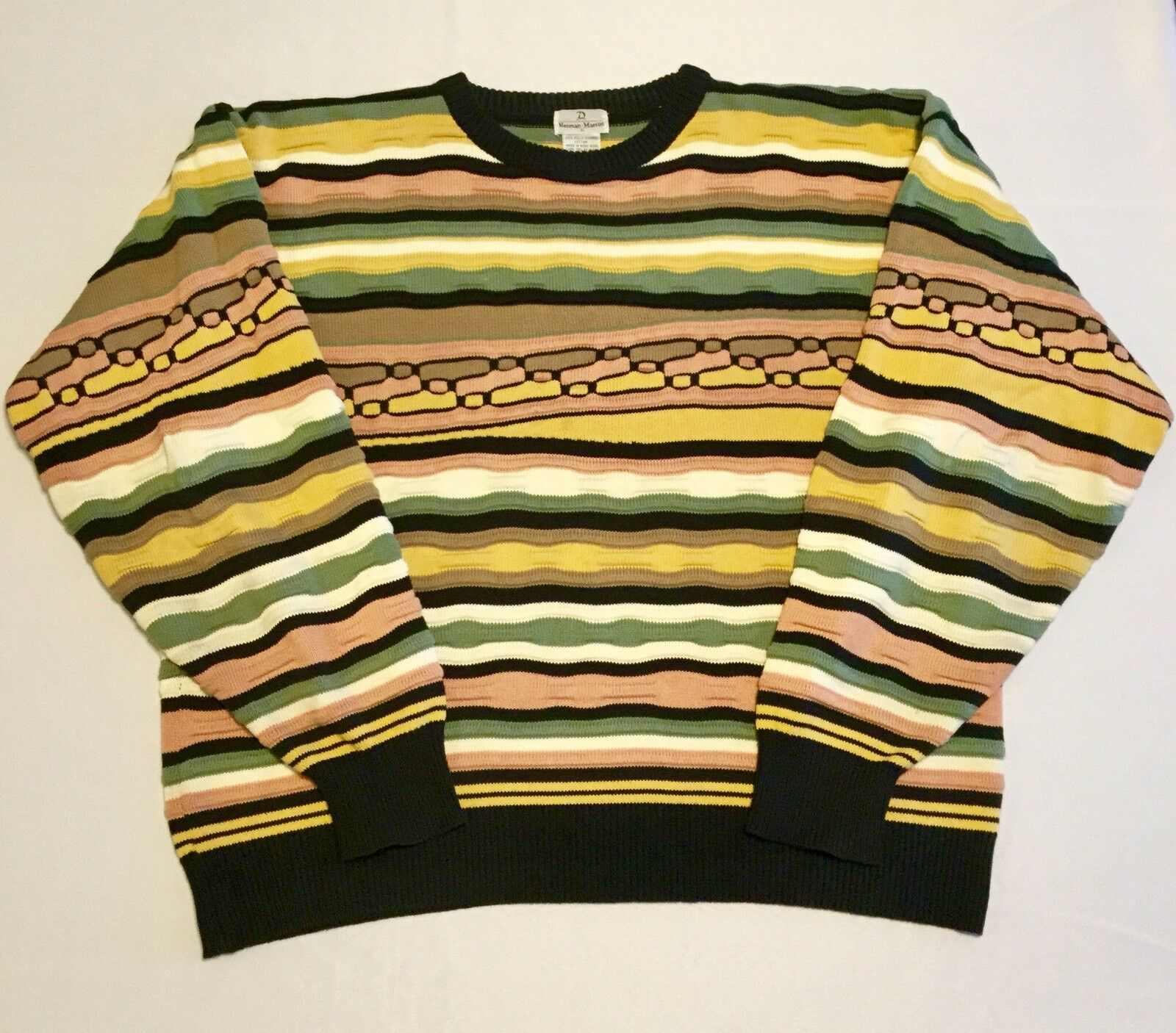 Neiman Marcus Mens Sweater Heavy Knit Multicolor Sz XL Combed Cotton Long Sleeve