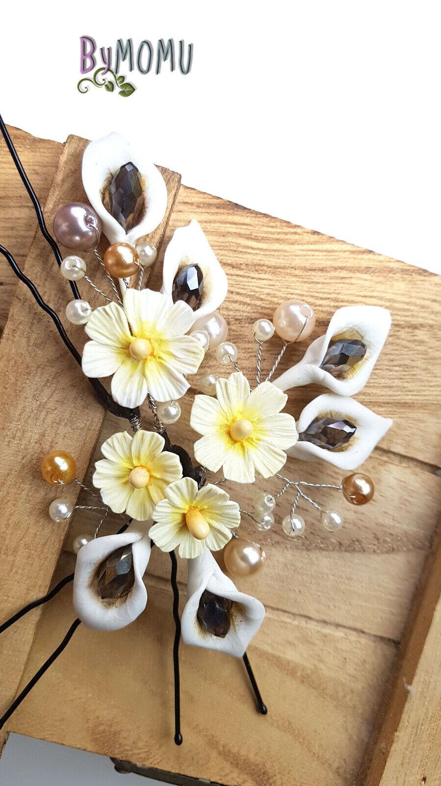 Horquillas Margaritas y Lirios -Flores de Porcelana Tocado Novias bodas