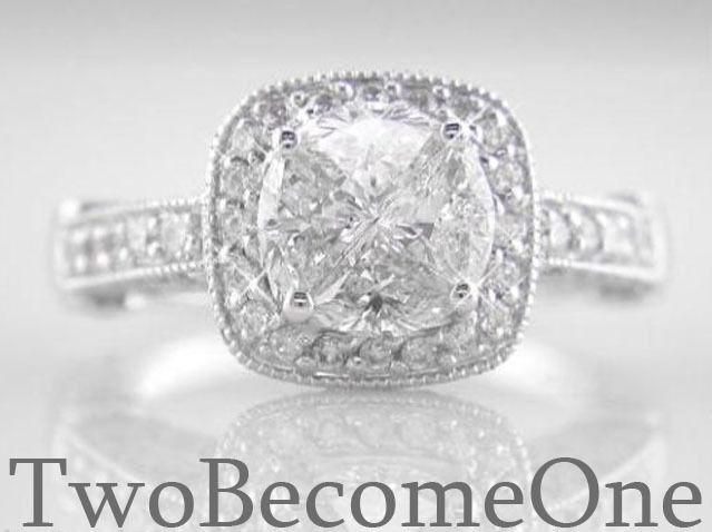 Handmade Diamond Engagement Ring 1.85ct F VVS2 18K White Gold Pie Ring