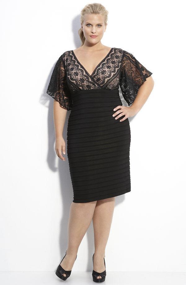 Adrianna Papell Lace & Knit Dress  ( Größe 6P)