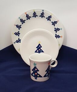 Image is loading Fiestaware-Blue-Christmas-Tree-3-piece-Set-Fiesta- : fiesta dinnerware christmas tree collection - Pezcame.Com