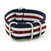 Ballistic Nylon Strap Navy Blue / White / Dark Red With Stainless Steel Rings