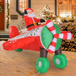 8'L Inflatable Santa Flying by Plane Airblown Christmas Yard ...