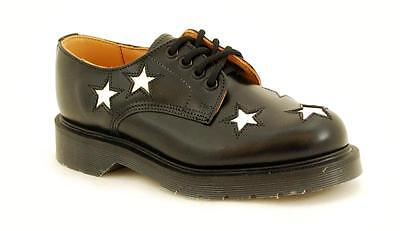 Solovair Nps Shoes Made In England 4 Eye Star Shoe Black/white S042-142-mostra Il Titolo Originale