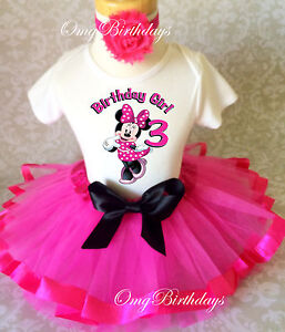 d72a2c9662b09 Details about Minnie Mouse Hot PINK Black Girl 3rd Third Birthday Tutu  Outfit Set Shirt
