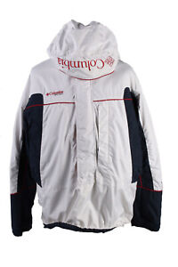 Vintage-Columbia-Winter-Puffer-Coat-Polyester-Lining-Size-L-White-amp-Blue-C1577