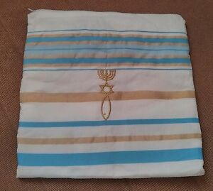 "Messianic Light Blue Tallit Talit Prayer Shawl 72"" x 22"" with Matching Bag"