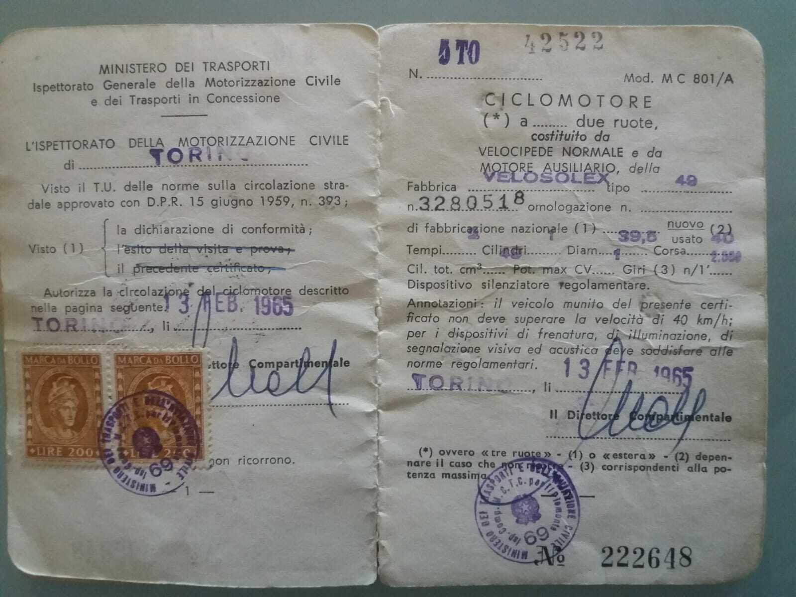 LIBRETTO ORIGINALE SOLEX BICI 49 EPOCA ORIGINALE IN OTTIME CONDIZIONI 1965