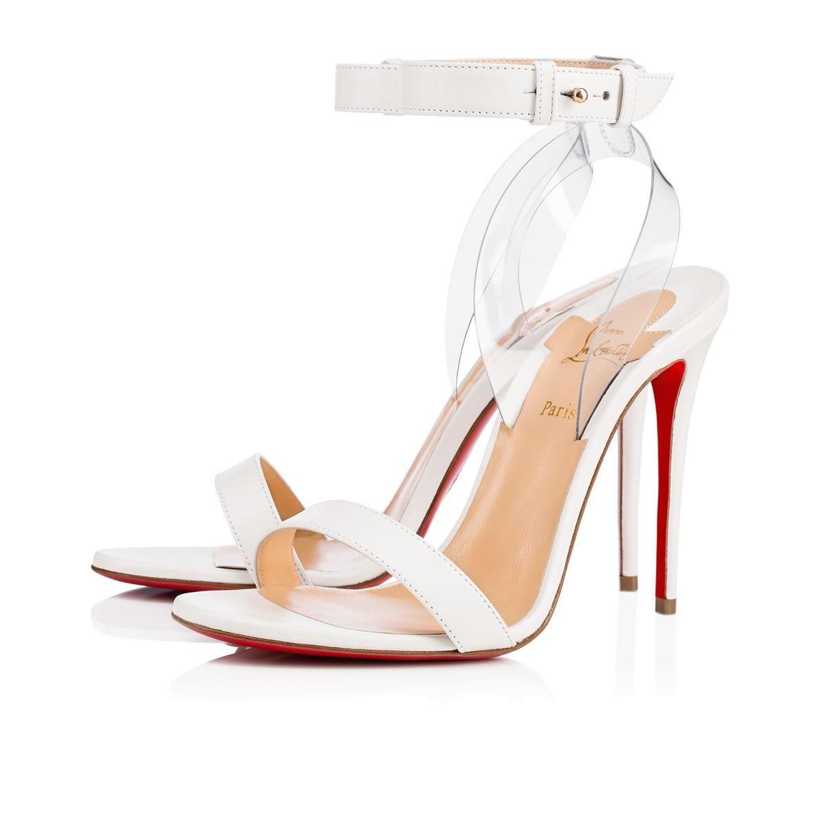 NIB Christian Louboutin Jonatina 100 blanc PVC Ankle Strap Sandal Heel Pump 38