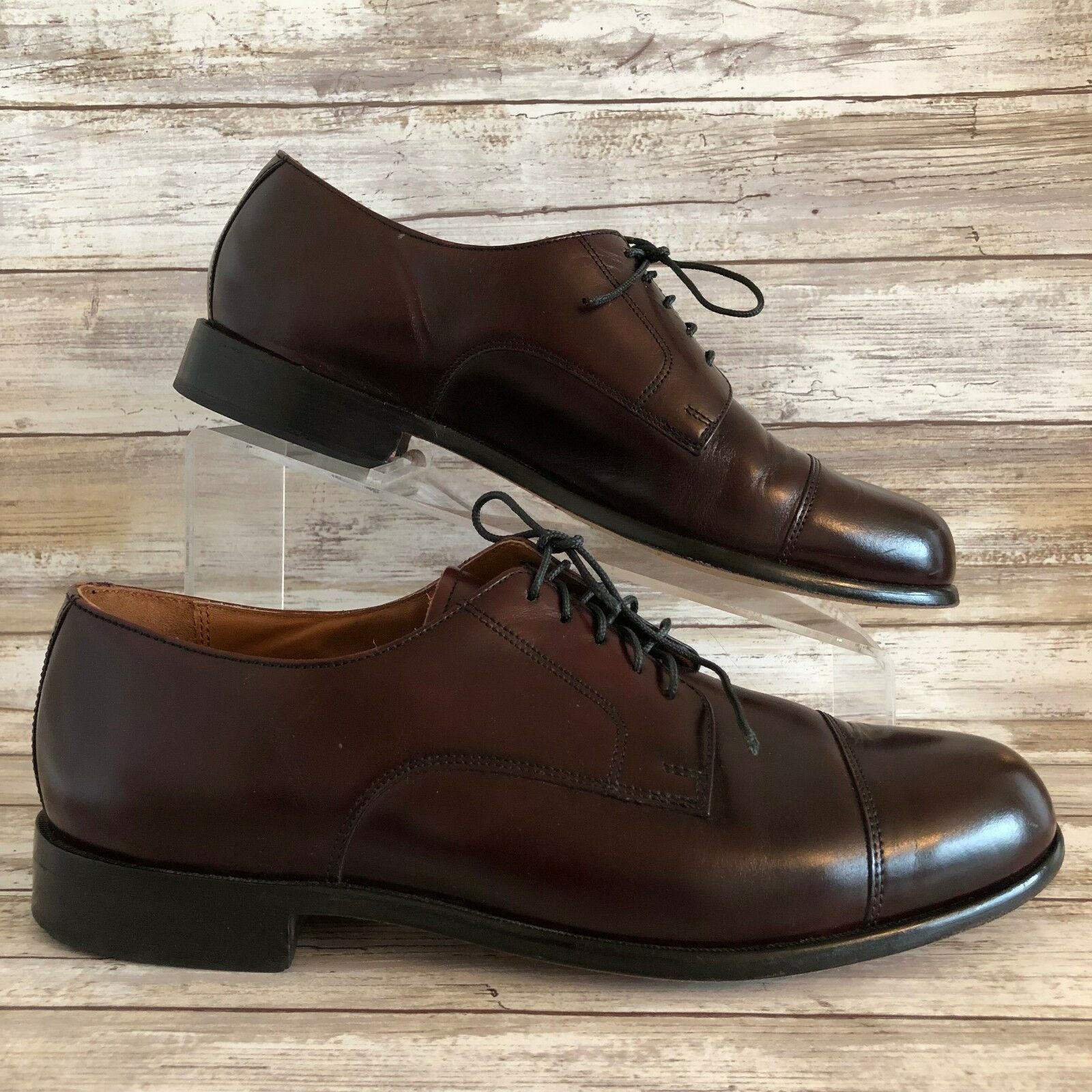 Bostonian Oxford Dress shoes 8.5M Burgundy Leather Cap Toe Classics Flex First