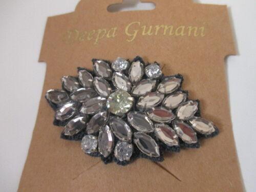 DEEPA GURNANI  Women/'s Large Crystal Blue Black Hair Clip NWT 50
