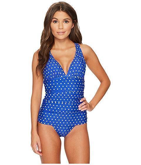 Lauren Dot Halter Skirted One Piece Swimsuit Women's size 12 bluee White