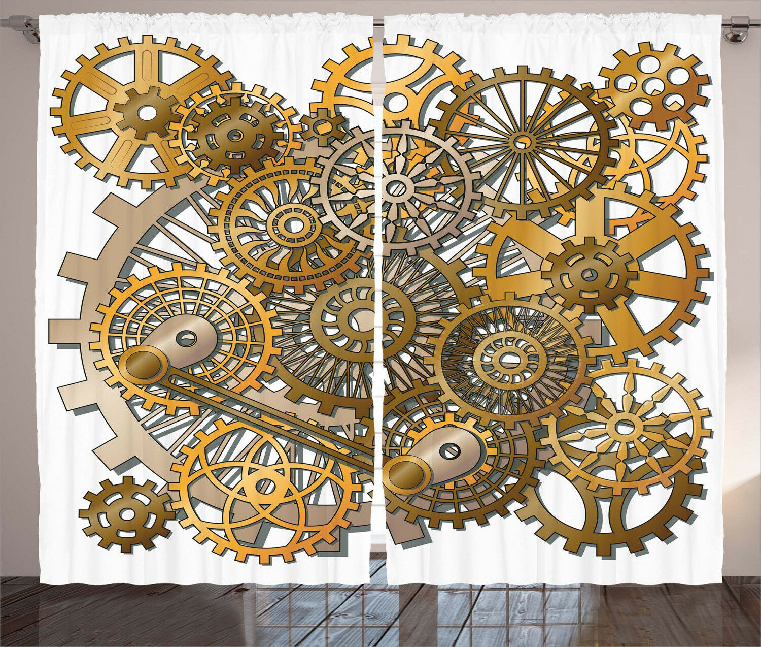 Modern Curtains Steampunk Gears Design Window Drapes 2 Panel Set 108x84 Inches