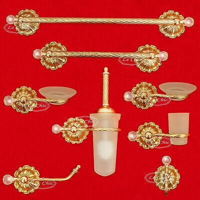 Accessori Bagno Ottone Oro.Set Accessori Bagno 8 Pezzi In Stile Barocco Imperiale Oro Cromo Con Swarovsky Ebay