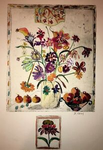 "Floral-Art-Prints Bracha Guy ""Etching With Remarque / One of One-Hand Colored"