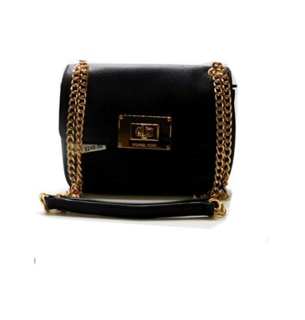 aa5e1588cba2 Michael Kors Sloan Small Shoulder Flap Black Leather Grain Shoulder Bag NWT