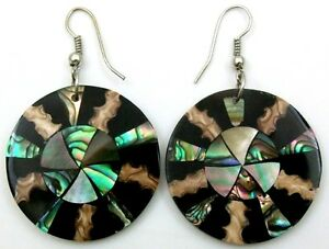 Natural-Abalone-Shell-Mother-of-Pearl-Cone-Shell-Dangle-Drop-Earrings-FA273-A