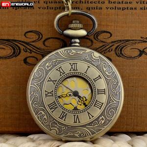 Vintage-Bronze-Gold-Dial-Quartz-Pocket-Watch-Necklace-Pendant-Chain-Antique-Mens