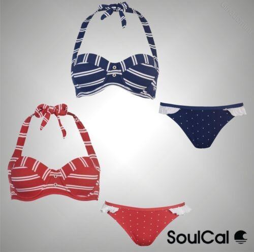 Ladies SoulCal elegante elastico Nautico Bikini Top Slip Costumi da bagno taglia 8-18