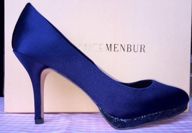 b0e8808394efb4 PUMPS Stilettos Gr. 36 blau Satin Essence Menbur Glitzer SCHUHE ...