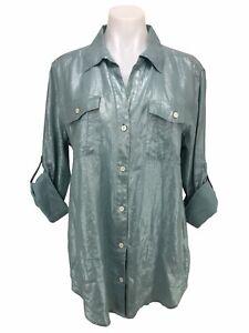 Tommy Bahama Ferrin Foil 100% Linen Metallic Blue Button Down Top Shirt Size M