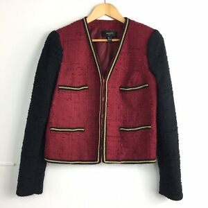 Mango-Suit-Red-Black-Boucle-Tweed-Fitted-Blazer-Jacket-Chic-Jackie-O-Large-12-14