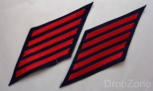 US-Marine-USN-Tuch-Service-Streifen-Rot-auf-Blau