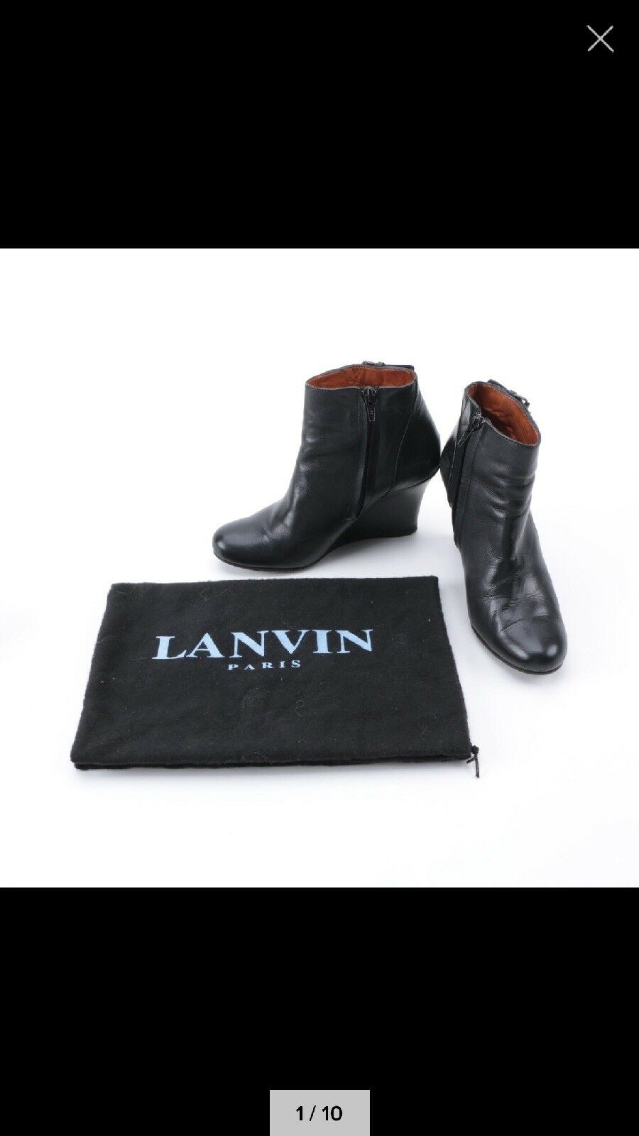 Lanvin Black Black Black Leather Buckle Top Wedge Ankle Booties size 34 New Classic  790 736fd2