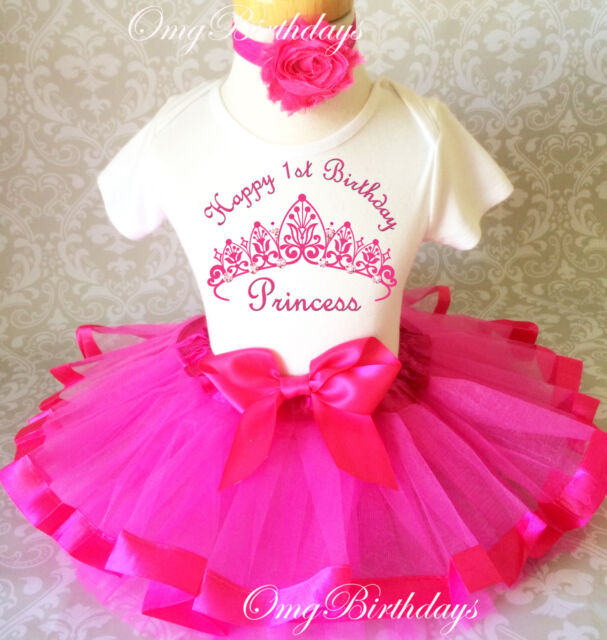Disney Princess Pink Tutu Shirt Headband 1st First Birthday Girl Outfit Party