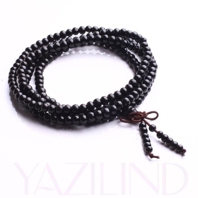 6mm 216 Black Sandalwood Prayer Mala Rosary Bead Stretch Necklace Bracelet