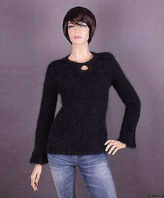 100% Vero Pullover Da Donna Angora, Colore: Nero E Dimensione: S O M (a Scelta)-