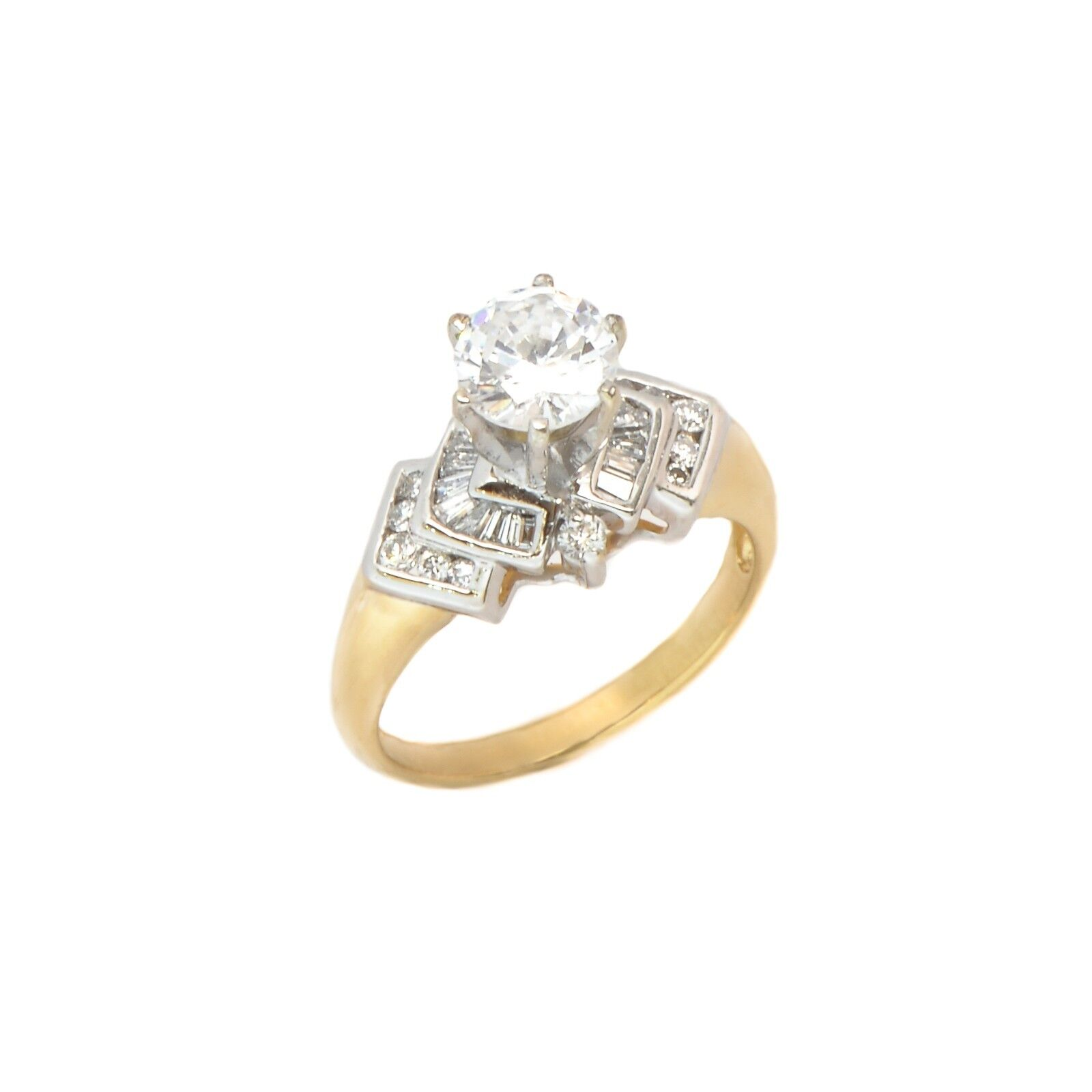 Engagement Ring 14k Yellow gold 0.45CT I VS1 CZ Center Stone 4.7 Grams Size 6.5