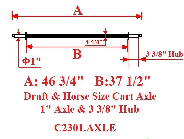 New  Full Size Horse Cart Axle With 1  Axle, 3 3 8  Hub  online sale