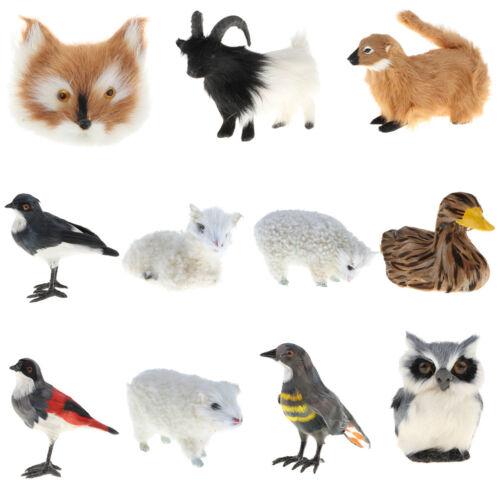 Simulation Faux Fur Farm Wild Animal Model Home Decor Sheep Duck Fox Cuckoo Owl