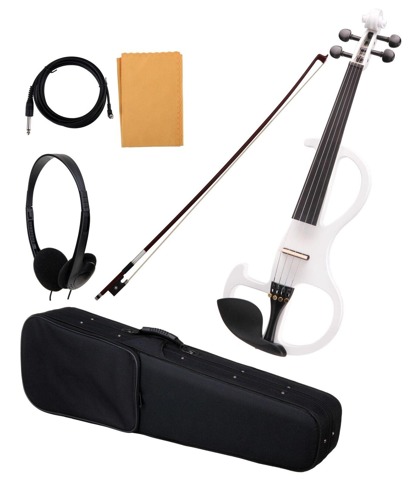 Schöne elektrische Violine weiß, mit Geigenbogen, Case, Kopfhörer, Pflege