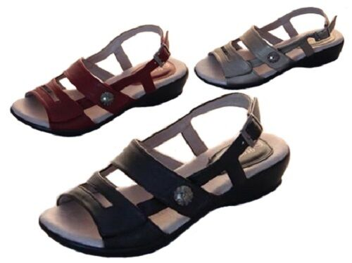Ladies Shoes Sandals Step On Air April Black Red or Pewter Adjustable Size 5-10