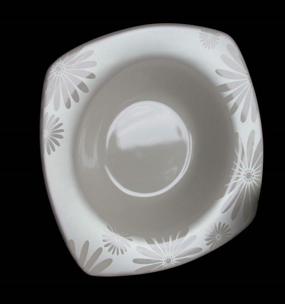8 ALICE PLATINUM Daisies Square Off-blanc Wide Rim 222 Fifth Soup Bowls EXC NEW