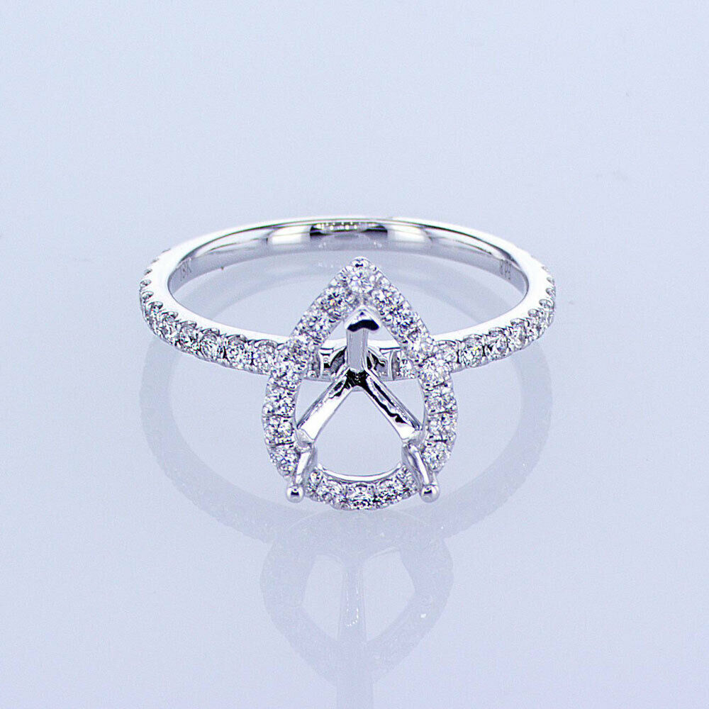 0.45CT 18KT WHITE gold PEAR HALO DIAMOND ENGAGEMENT RING SETTING