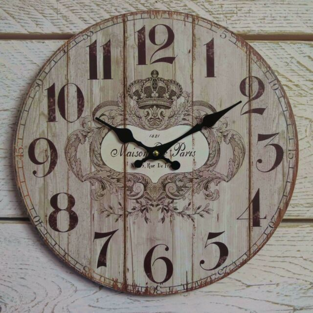 Shabby Chic French Rustic Round Wooden Wall Clock Brown Maison de Paris France