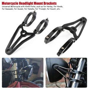 2x-Support-Patte-de-Feu-Phare-Avant-Montage-Mount-Bracket-Moto-Noir-41MM-Fourche