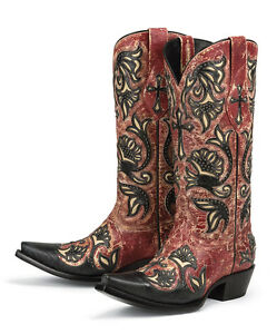 Brand new RED w/ cross inlay womens ladies cowboy boots - sale ...
