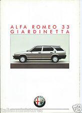 Alfa Romeo 33 Giardinetta Brochure Catalog Prospekt 1986 Italiano