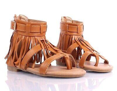 Tan Indian Style Fringe Kids Girls Gladiators Sandals Youth Shoes Size 9