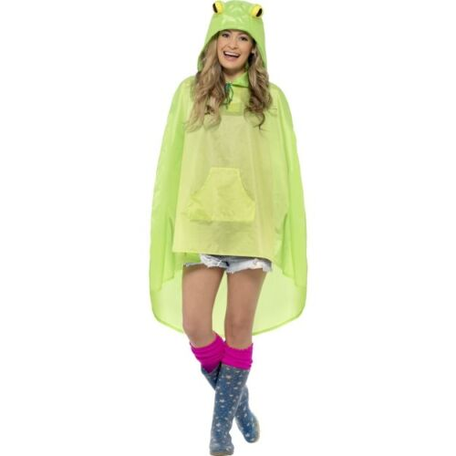 Women/'s Girls Frog Party Poncho Music Festival Concert Camping Fancy Dress Fun