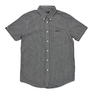 Uomo-Nero-E-Bianco-Ben-Sherman-Vintage-Manica-Corta-Camicia-con-taschino-taglia-L