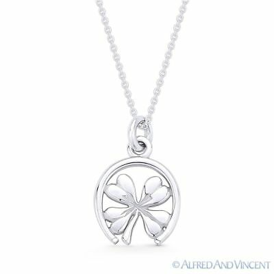 Sterling Silver Shamrock Clover Pendant 1.5mm Ball Chain Necklace Italy