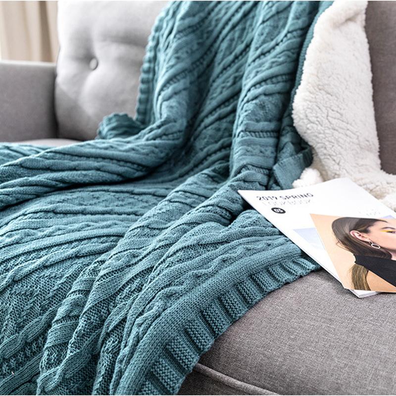 Gestrickt Fleece Überwurf Decke Warm Nordisch Sherpa Tagesdecke Counch Sofa