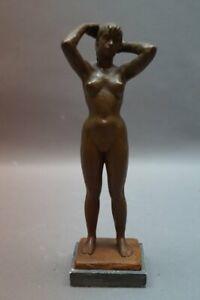 Ernst Yelin Bildhauer Stuttgart 1900-91 - Sich frisierendes Mädchen  Akt Bozzeto