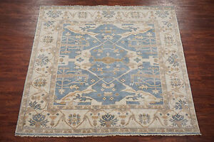 Oushak-8X8-Veg-Dye-Square-Antiqued-Turkish-Hand-Knotted-Wool-Oriental-Area-Rug